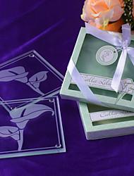 """""""Lírios de Calla"""" de vidro fosco porta-copos na caixa de presente floral-Inspired"""