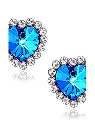cheap -Women's Stud Earrings Synthetic Sapphire Love Luxury Synthetic Gemstones Imitation Diamond Alloy Heart Star Jewelry For Daily