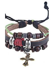 старинные крест браслет кожаный браслет классический женский стиль