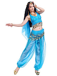 cheap -Belly Dance Outfits Women's Performance Chiffon Beading Coins Sequins 4 Pieces Sleeveless Top Pants Hip Scarf Headpieces