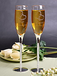 cheap -Personalized Toasting Flutes With Rhinestone Stem - Set of 2