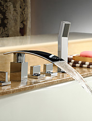 abordables -Robinet de baignoire - Moderne Chrome Baignoire romaine Soupape céramique / Laiton / Trois poignées cinq trous