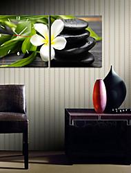 "Недорогие -12 ""-24"" Country Style Белый цветок Настенные часы в Canvas 2шт"