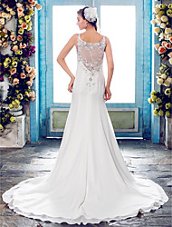cheap -Mermaid / Trumpet Spaghetti Straps Court Train Chiffon Beaded Lace Custom Wedding Dresses with Beading Appliques by LAN TING BRIDE®
