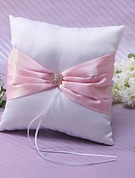 anneau d'oreiller en satin rose avec strass et cérémonie de mariage ceinture