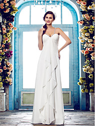 cheap -Sheath / Column Spaghetti Straps Floor Length Chiffon Wedding Dress with Beading Side-Draped by LAN TING BRIDE®