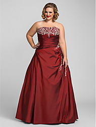 cheap -A-Line Strapless Floor Length Taffeta Prom Dress with Beading by TS Couture®