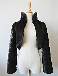 Fur Wraps / Fur Coats Coats/Jackets Long Sleeve Faux Fur Black Party/Evening / Casual Open Front
