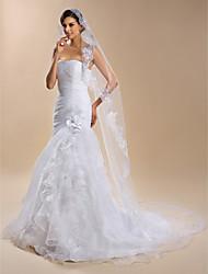 Uma Camada Borda com aplicação de Renda Véus de Noiva Véu Capela Com Organza