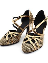 رخيصةأون -نسائي أحذية عصرية / صالة الرقص بريّق / جلد كعب كعب مخصص مخصص أحذية الرقص برونز / ذهبي / EU41