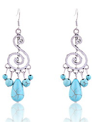 cheap -Vintage Turqoise Music Symbol Pendant Earrings Classical Feminine Style