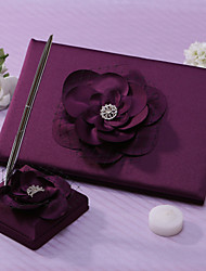 cheap -Lalic Wedding Guest Book And Pen Set With Flower Sign In Book