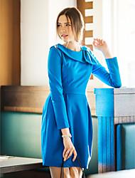 TS VINTAGE Wide Lapel Bow Pleats Dress