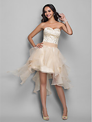 A-Line Princess Sweetheart Asymmetrical Organza Stretch Satin Homecoming Holiday Dress with Beading by TS Couture®