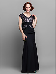 cheap -Mermaid / Trumpet V Neck Floor Length Chiffon Lace Mother of the Bride Dress with Beading Ruched by LAN TING BRIDE®
