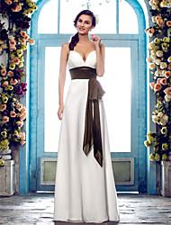 abordables -Fourreau / Colonne Bretelles Fines Longueur Sol Mousseline de soie Robe de mariée avec Ceinture / Ruban Noeud Drapée Drapée sur le côté