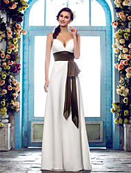 cheap -Sheath / Column Spaghetti Straps Floor Length Chiffon Wedding Dress with Sash / Ribbon Bow Draped Side-Draped by LAN TING BRIDE®