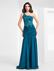 Mermaid / Trumpet One Shoulder Floor Length Chiffon Tulle Evening Dress with Beading by TS Couture®