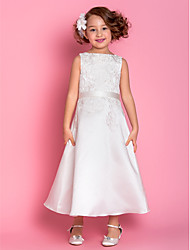 cheap -A-Line Tea Length Flower Girl Dress - Satin Sleeveless Scoop Neck with Appliques by LAN TING BRIDE®