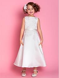 Un vestito dalla ragazza di fiore di lunghezza di lunghezza del tè - collo di scoop senza maniche in raso con applique da laning bride®