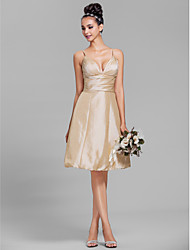 A-Line Spaghetti Straps Knee Length Taffeta Bridesmaid Dress with Side Draping Ruching by LAN TING BRIDE®