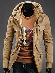 Недорогие -Мужские хлопчатобумажные несколькими карманами Тонкий пиджаки Воротник Стенд