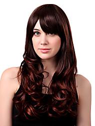 Nadolijevanja Long Kvalitetni sintetičke Chestnut Brown valovita kosa perika Side Bang