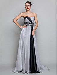 A-Line Sweetheart Floor Length Chiffon Formal Evening Military Ball Dress with Crystal Detailing Criss Cross Sequins by TS Couture®