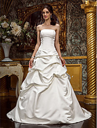 A-Line Princess Strapless Sweep / Brush Train Satin Wedding Dress with Pick-Up by LAN TING BRIDE®