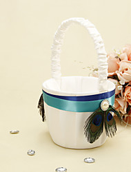 cheap -Blue Stripe With Peacock Feather Flower Basket Flower Girl Basket