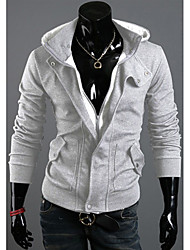 DJJM Men's Fashion New Delicate Hooded Fleece Leisure Flannelette Fleece Coat(Light Gray)