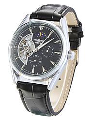 abordables -Hueco grabado reloj de los hombres automático mecánico del dial redondo de silicona banda analógico de pulsera (colores surtidos)