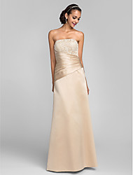 Sheath / Column Strapless Floor Length Lace Satin Formal Evening Dress with Beading Lace Side Draping by TS Couture®