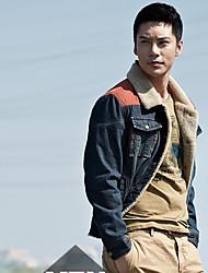 Недорогие -Мужчины ретро джинсовые пиджаки Цветовой контраст