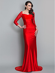 Mermaid / Trumpet V-neck Sweep / Brush Train Lace Knit Formal Evening Military Ball Dress with Ruching by TS Couture®