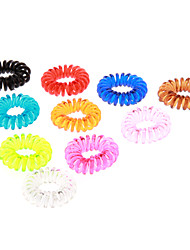 (10pcs)Fashion Multicolor Plastic Hair Ties For Kids(Orange,Green And More)