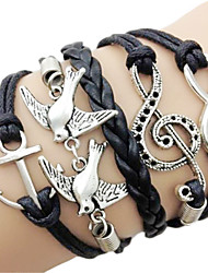 European 7Cm Women'S Black Fabric Wrap Bracelet(Black)(1 Pc)