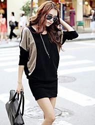 お買い得  -女性用 シフト ドレス カラーブロック ミニ