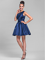 cheap -A-Line One Shoulder Short / Mini Satin Bridesmaid Dress with Sash / Ribbon Side Draping by LAN TING BRIDE®