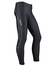 abordables -SANTIC Homme Cuissard Long de Cyclisme - Noir Vélo Collants, Pare-vent, Respirable, Garder au chaud, Design Anatomique, Hiver, Spandex Couleur Pleine / Haute élasticité / Avancé