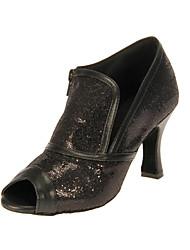 cheap -Women's Latin Ballroom Sparkling Glitter Heel Customized Heel Black Customizable