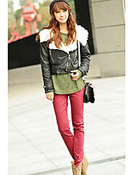 cheap -INNA Women's Red Candy Color Elastic Skinny Pants