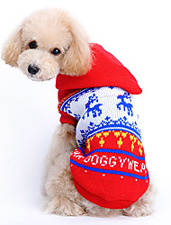 cheap -Cat Dog Sweater Hoodie Dog Clothes Reindeer Red Woolen Costume For Pets Men's Women's Cute Christmas
