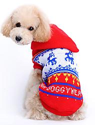 baratos -Gato Cachorro Súeters Camisola com Capuz Roupas para Cães Rena Vermelho De Lã Ocasiões Especiais Para animais de estimação Homens Mulheres