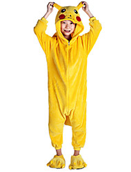 billige -Børne Kigurumi-pyjamas Pika Pika Onesie-pyjamas Kostume Flanel Fleece Gul Cosplay Til Nattøj Med Dyr Tegneserie Halloween Festival / Højtider