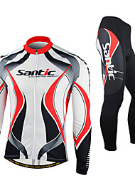 cheap Sports & Outdoors-SANTIC Men's Long Sleeve Cycling Jersey with Tights - Red / White Bike Jacket / Tights / Clothing Suit, Windproof, Thermal / Warm, Anatomic Design, Fleece Lining, Ultraviolet Resistant Spandex, Fleece