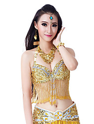 Belly Dance Tops Women's Performance Polyester Appliques Tassel(s) Crystals/Rhinestones 1 Piece Sleeveless Top