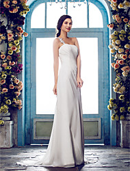 Sheath / Column One Shoulder Sweep / Brush Train Chiffon Wedding Dress with Beading Appliques Ruche Side-Draped by LAN TING BRIDE®