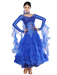 cheap -Ballroom Dance Dresses Women's Training Spandex Tulle Crystals/Rhinestones Long Sleeve