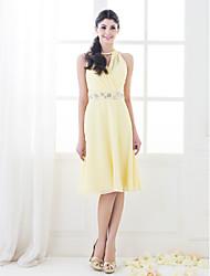Linea-A Da principessa Collo alto Al ginocchio Chiffon Vestito da damigella con Perline Dettagli con cristalli A incrocio diLAN TING
